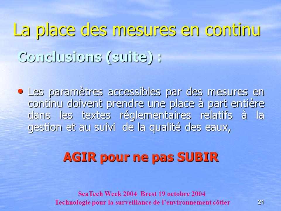 21 La place des mesures en continu Conclusions (suite) : Les paramètres accessibles par des mesures en continu doivent prendre une place à part entièr