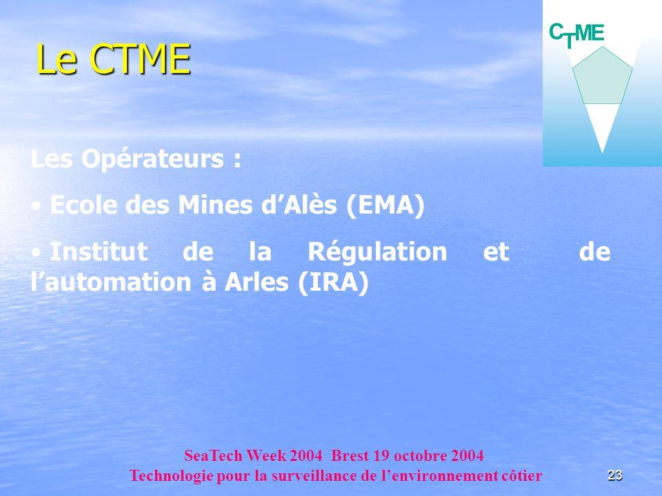23 Le CTME Les Opérateurs : Ecole des Mines dAlès (EMA) Institut de la Régulation et de lautomation à Arles (IRA) SeaTech Week 2004 Brest 19 octobre 2