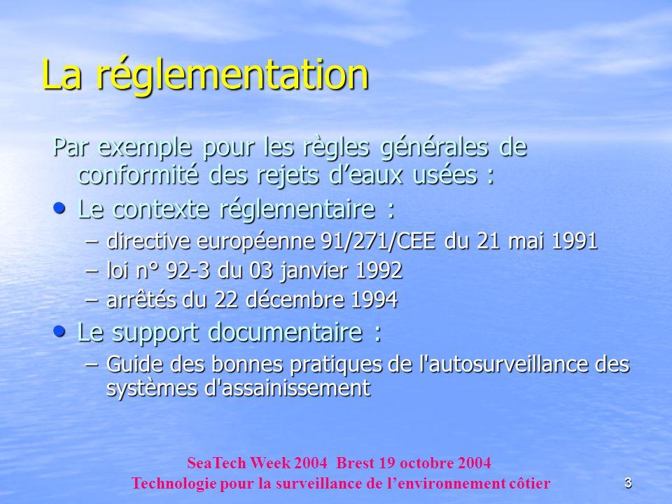 3 Par exemple pour les règles générales de conformité des rejets deaux usées : Le contexte réglementaire : Le contexte réglementaire : –directive euro