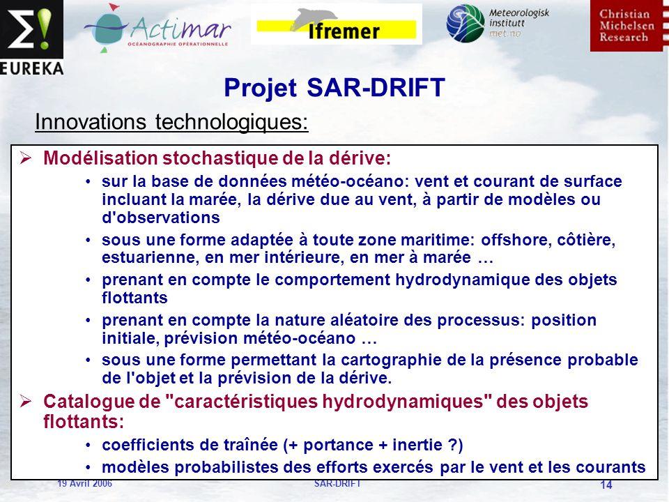 19 Avril 2006SAR-DRIFT 14 Projet SAR-DRIFT Modélisation stochastique de la dérive: sur la base de données météo-océano: vent et courant de surface incluant la marée, la dérive due au vent, à partir de modèles ou d observations sous une forme adaptée à toute zone maritime: offshore, côtière, estuarienne, en mer intérieure, en mer à marée … prenant en compte le comportement hydrodynamique des objets flottants prenant en compte la nature aléatoire des processus: position initiale, prévision météo-océano … sous une forme permettant la cartographie de la présence probable de l objet et la prévision de la dérive.