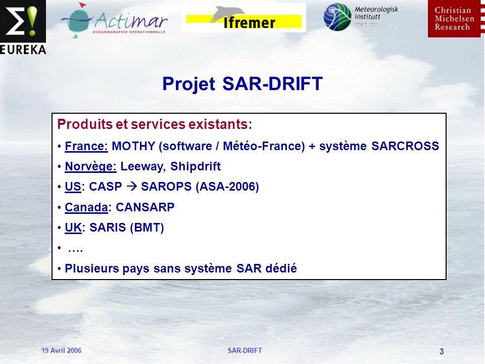 19 Avril 2006SAR-DRIFT 3 Projet SAR-DRIFT Produits et services existants: France: MOTHY (software / Météo-France) + système SARCROSS Norvège: Leeway, Shipdrift US: CASP SAROPS (ASA-2006) Canada: CANSARP UK: SARIS (BMT) ….