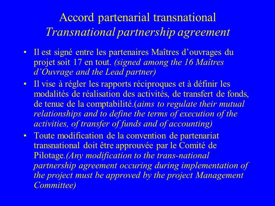 Accord partenarial transnational Transnational partnership agreement Il est signé entre les partenaires Maîtres douvrages du projet soit 17 en tout.