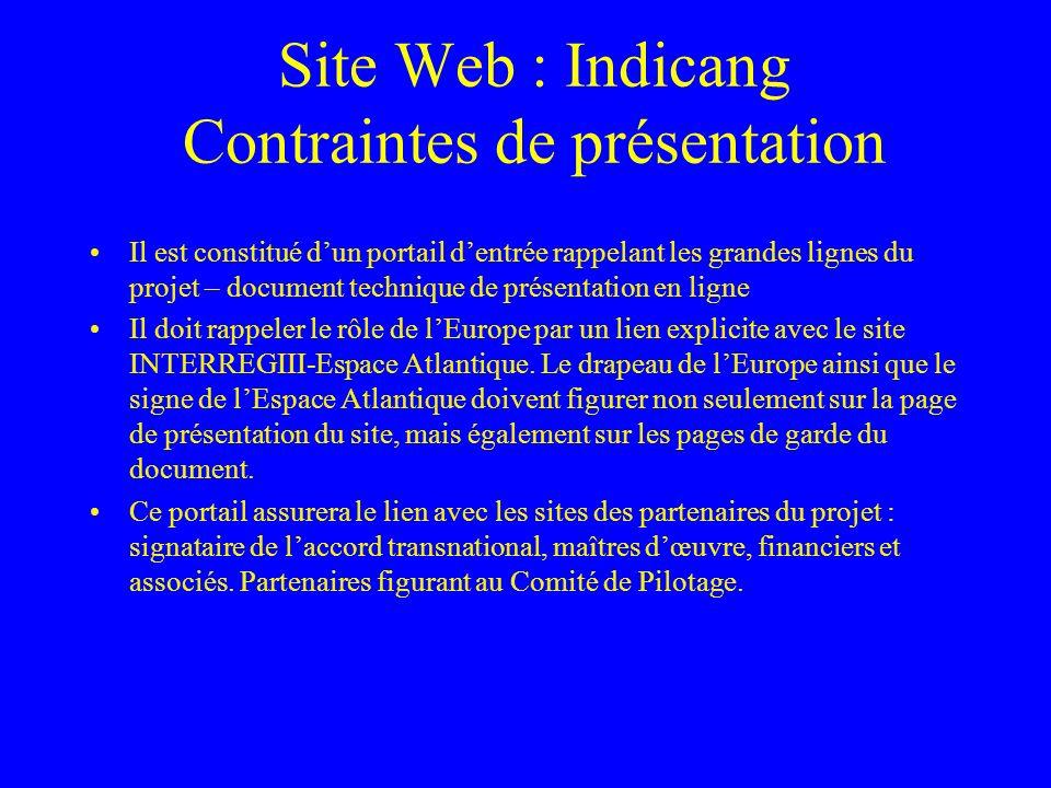 Site Web : Indicang Contraintes de présentation Il est constitué dun portail dentrée rappelant les grandes lignes du projet – document technique de présentation en ligne Il doit rappeler le rôle de lEurope par un lien explicite avec le site INTERREGIII-Espace Atlantique.