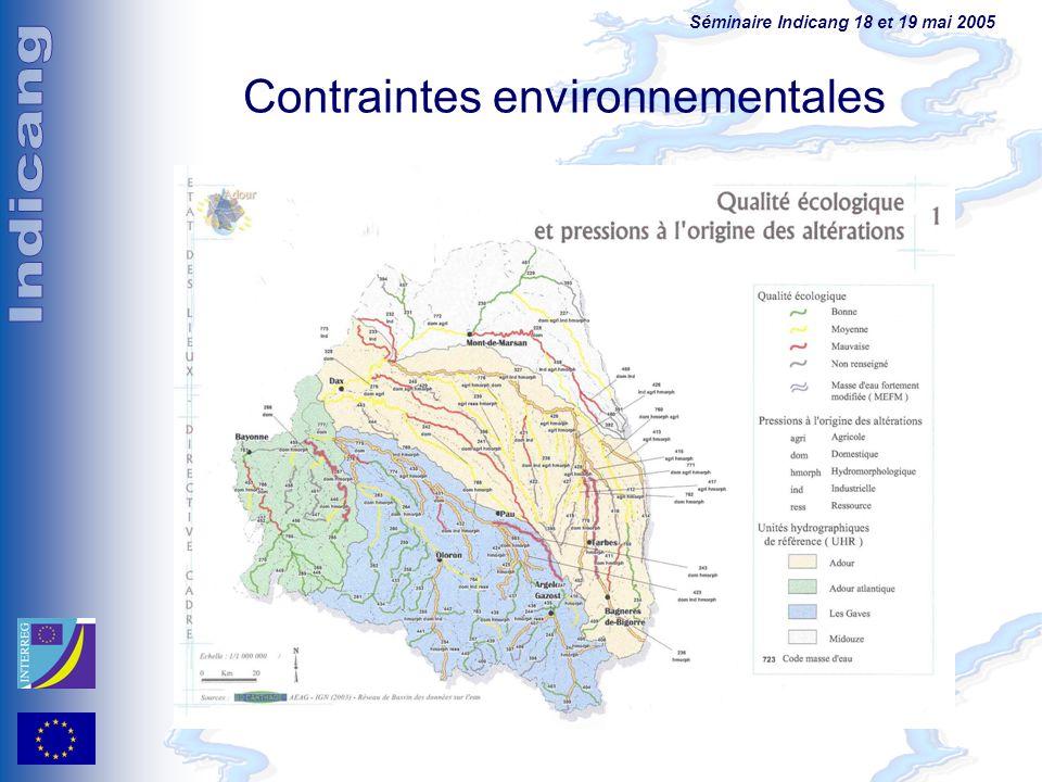 Séminaire Indicang 18 et 19 mai 2005 Contraintes environnementales