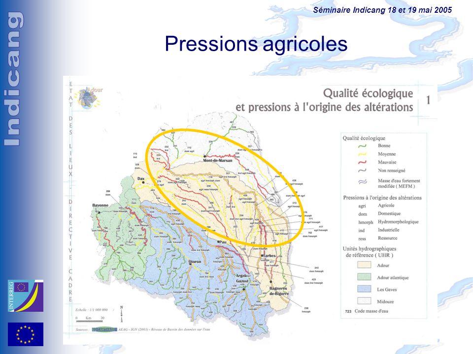 Séminaire Indicang 18 et 19 mai 2005 Pressions agricoles