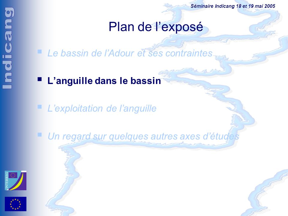 Séminaire Indicang 18 et 19 mai 2005 Plan de lexposé Le bassin de lAdour et ses contraintes Languille dans le bassin Lexploitation de languille Un reg
