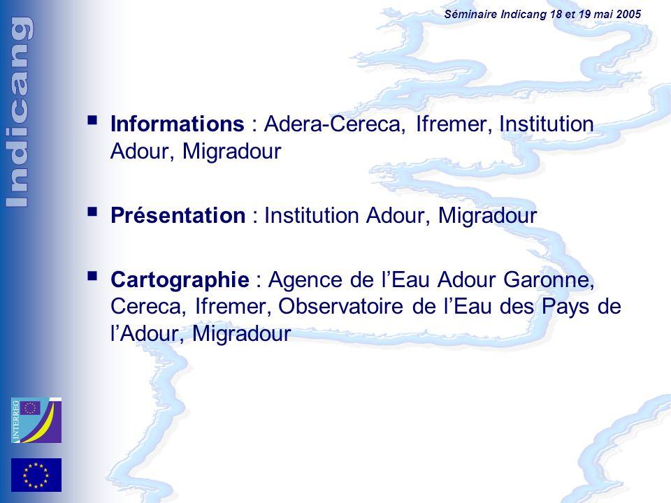 Séminaire Indicang 18 et 19 mai 2005 Informations : Adera-Cereca, Ifremer, Institution Adour, Migradour Présentation : Institution Adour, Migradour Ca