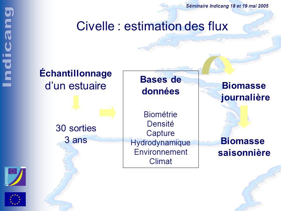 Séminaire Indicang 18 et 19 mai 2005 Civelle : estimation des flux 30 sorties 3 ans Échantillonnage dun estuaire Bases de données Biométrie Densité Ca