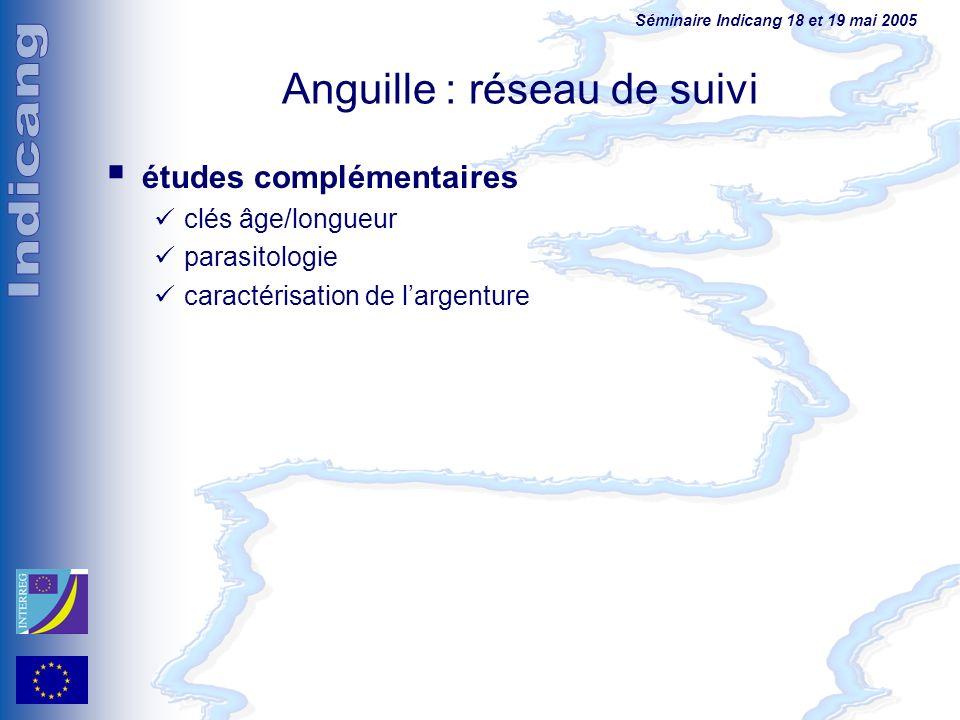 Séminaire Indicang 18 et 19 mai 2005 Anguille : réseau de suivi études complémentaires clés âge/longueur parasitologie caractérisation de largenture