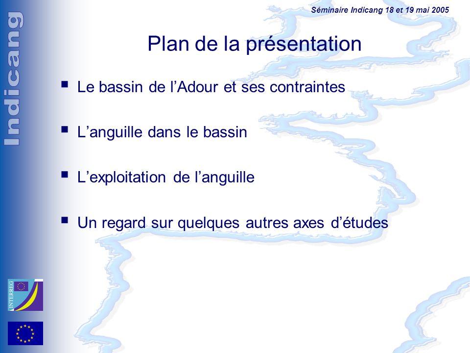 Séminaire Indicang 18 et 19 mai 2005 Plan de la présentation Le bassin de lAdour et ses contraintes Languille dans le bassin Lexploitation de languill