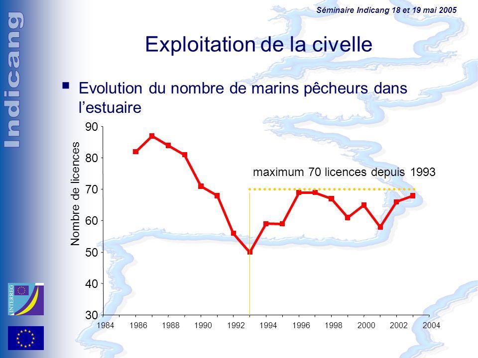 Séminaire Indicang 18 et 19 mai 2005 Evolution du nombre de marins pêcheurs dans lestuaire Exploitation de la civelle 30 40 50 60 70 80 90 19841986198