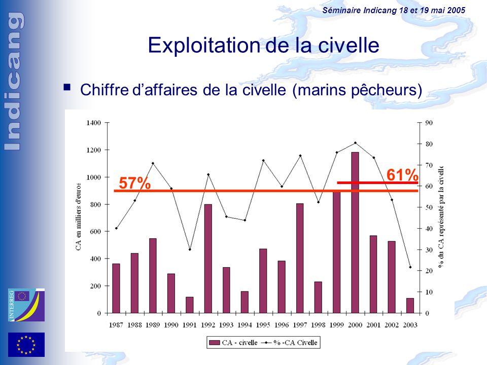 Séminaire Indicang 18 et 19 mai 2005 Exploitation de la civelle Chiffre daffaires de la civelle (marins pêcheurs) 57% 61%