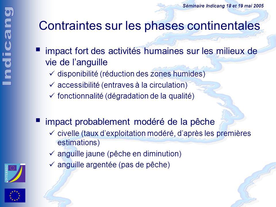 Séminaire Indicang 18 et 19 mai 2005 Contraintes sur les phases continentales impact fort des activités humaines sur les milieux de vie de languille d