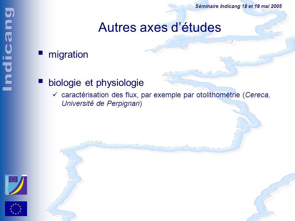 Séminaire Indicang 18 et 19 mai 2005 Autres axes détudes migration biologie et physiologie caractérisation des flux, par exemple par otolithométrie (C
