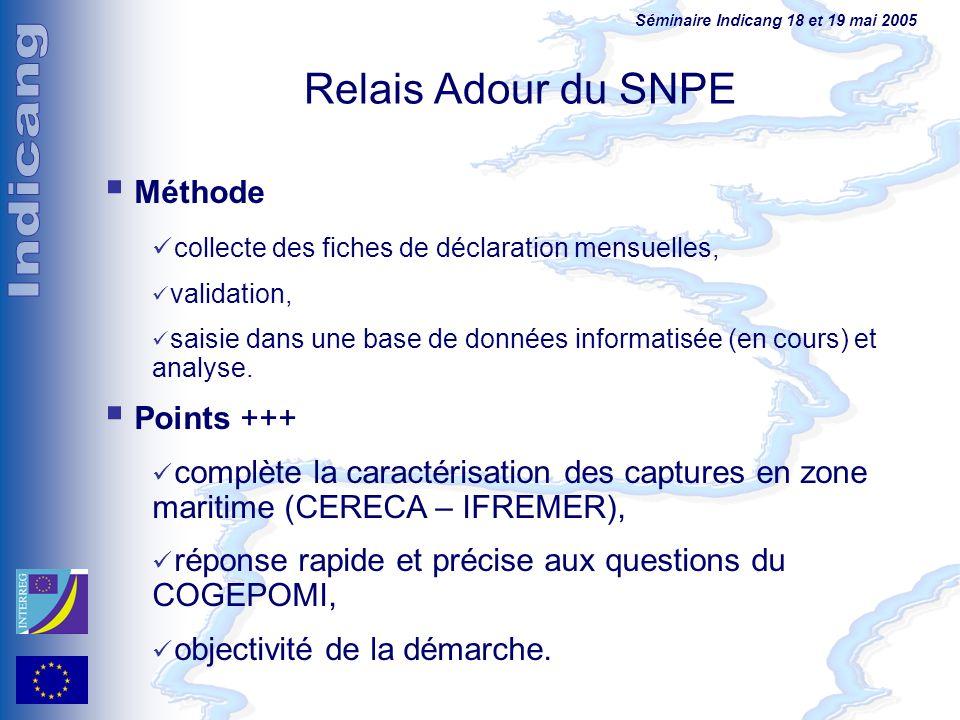 Séminaire Indicang 18 et 19 mai 2005 Méthode collecte des fiches de déclaration mensuelles, validation, saisie dans une base de données informatisée (
