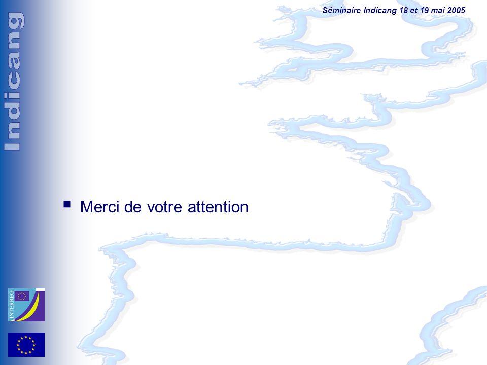 Séminaire Indicang 18 et 19 mai 2005 Merci de votre attention