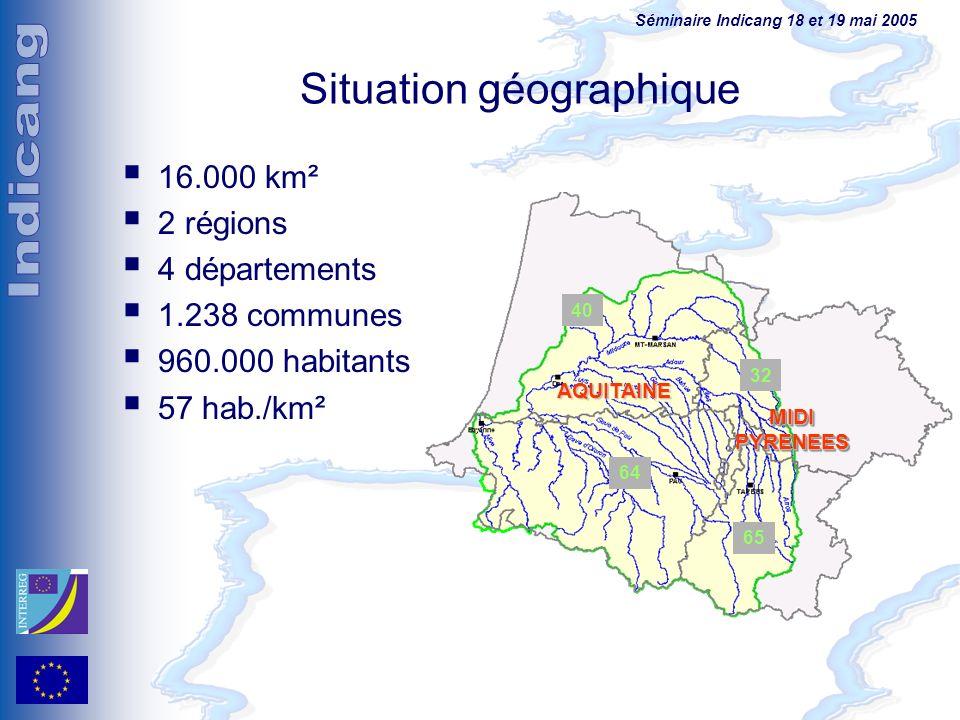 Séminaire Indicang 18 et 19 mai 2005 Situation géographique 16.000 km² 2 régions 4 départements 1.238 communes 960.000 habitants 57 hab./km² 64 32 65