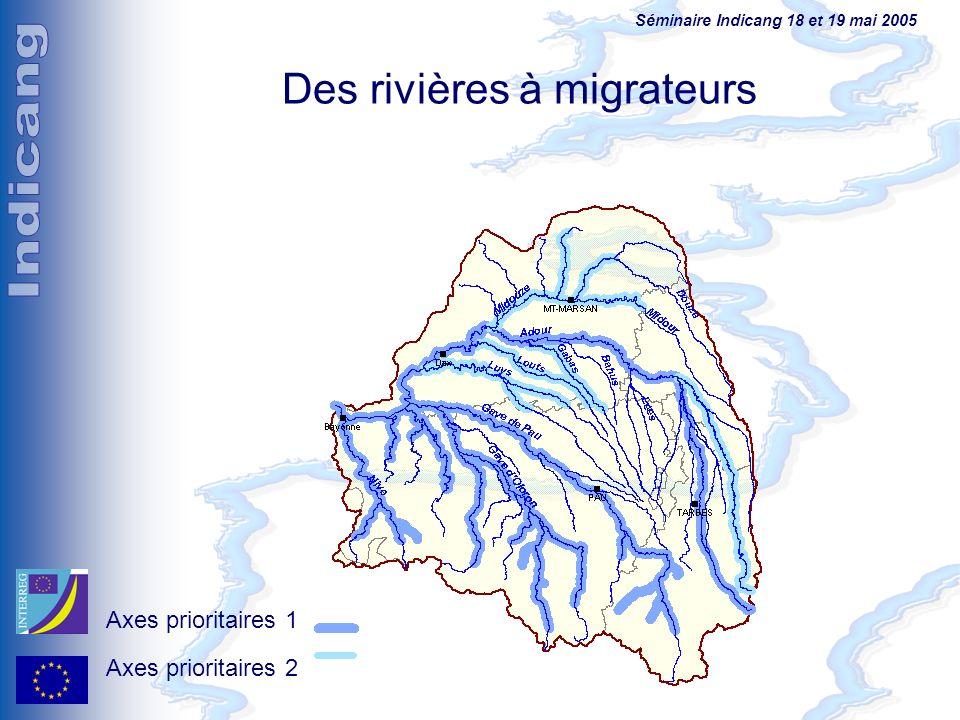 Séminaire Indicang 18 et 19 mai 2005 Des rivières à migrateurs Axes prioritaires 1 Axes prioritaires 2