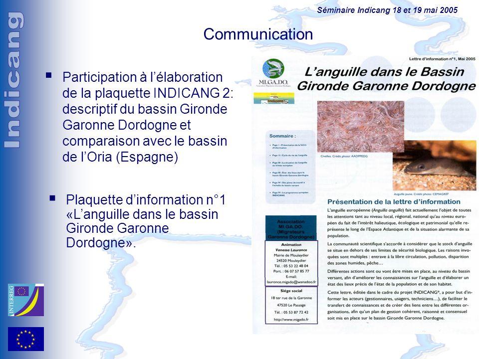 Séminaire Indicang 18 et 19 mai 2005 Communication Participation à lélaboration de la plaquette INDICANG 2: descriptif du bassin Gironde Garonne Dordo