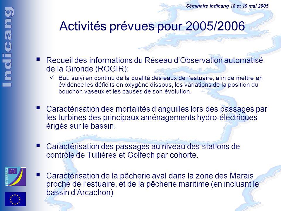 Séminaire Indicang 18 et 19 mai 2005 Activités prévues pour 2005/2006 Recueil des informations du Réseau dObservation automatisé de la Gironde (ROGIR)
