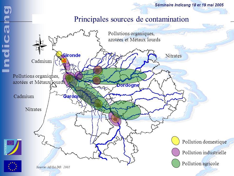 Séminaire Indicang 18 et 19 mai 2005 Pollution agricole Pollution domestique Pollution industrielle Cadmium Pollutions organiques, azotées et Métaux l