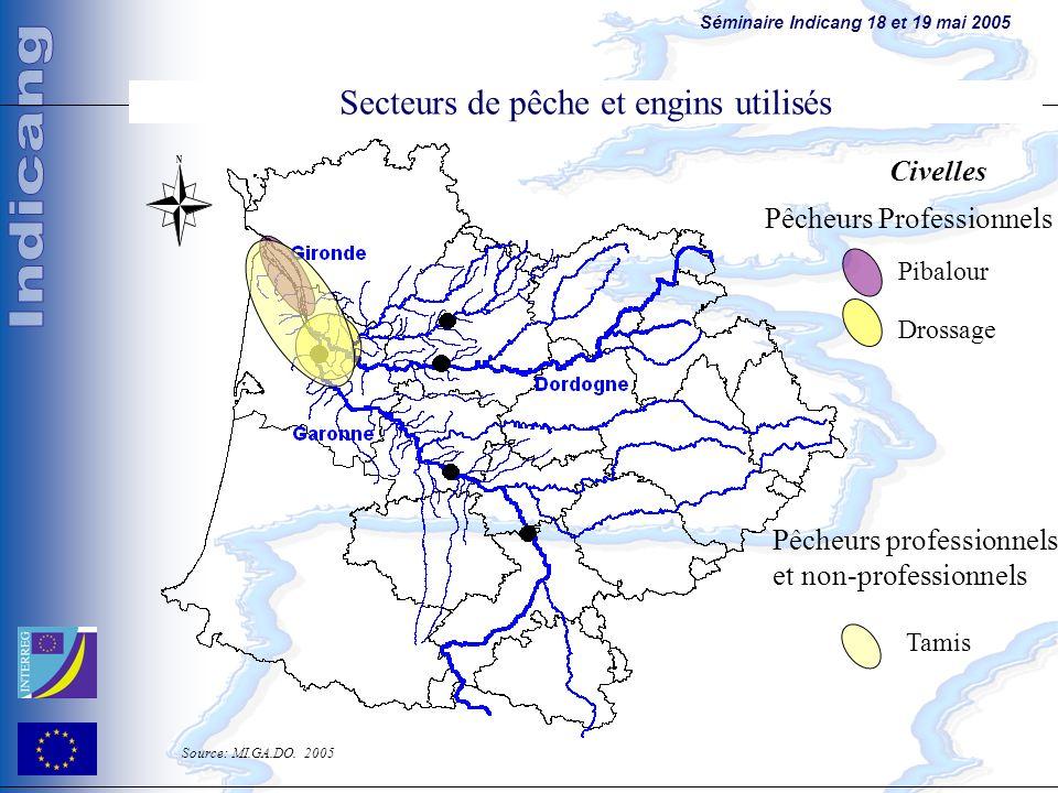 Séminaire Indicang 18 et 19 mai 2005 Principales sources de contamination Pibalour Drossage Tamis Civelles Pêcheurs professionnels et non-professionne