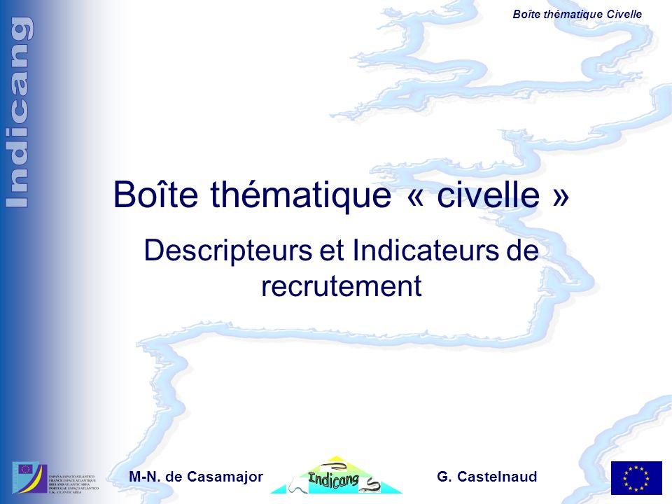 Boîte thématique Civelle Boîte thématique « civelle » Descripteurs et Indicateurs de recrutement M-N. de Casamajor G. Castelnaud