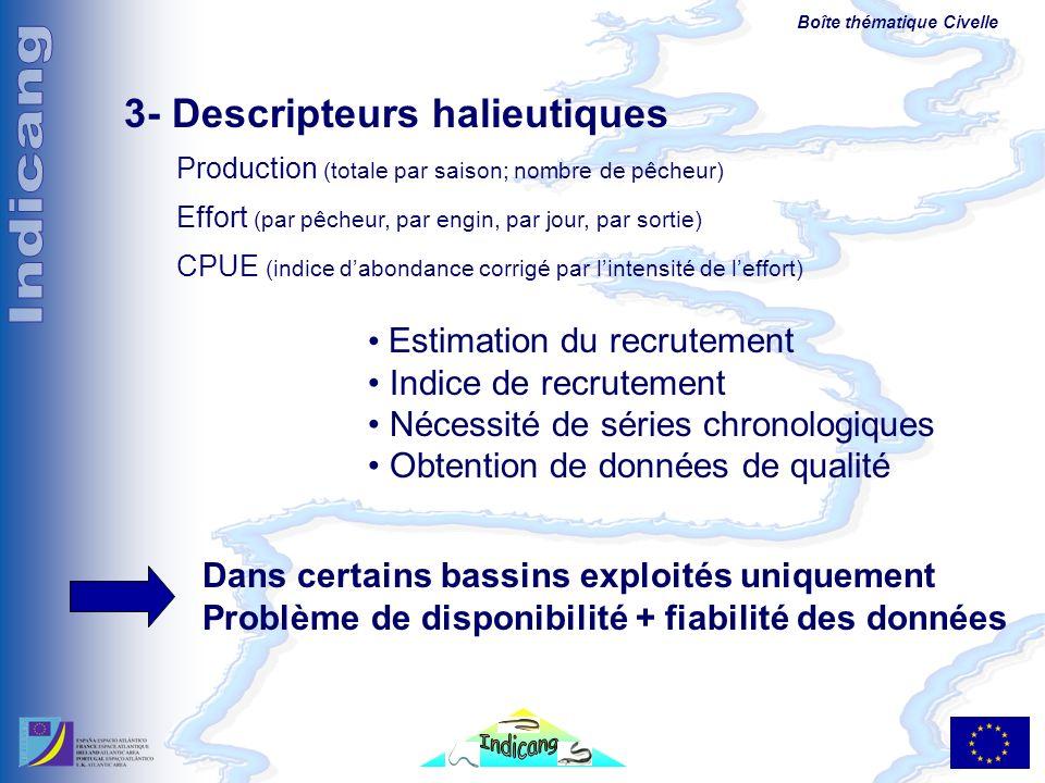 Boîte thématique Civelle 3- Descripteurs halieutiques Production (totale par saison; nombre de pêcheur) Effort (par pêcheur, par engin, par jour, par