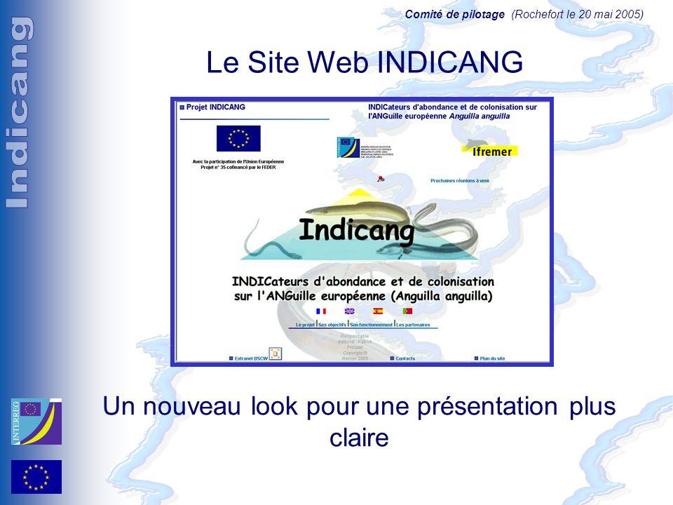 Comité de pilotage (Rochefort le 20 mai 2005) Le Site Web INDICANG Un nouveau look pour une présentation plus claire