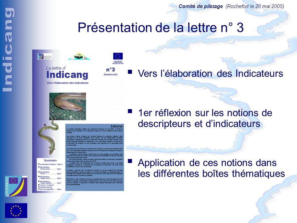 Comité de pilotage (Rochefort le 20 mai 2005) Présentation de la lettre n° 3 Vers lélaboration des Indicateurs 1er réflexion sur les notions de descripteurs et dindicateurs Application de ces notions dans les différentes boîtes thématiques
