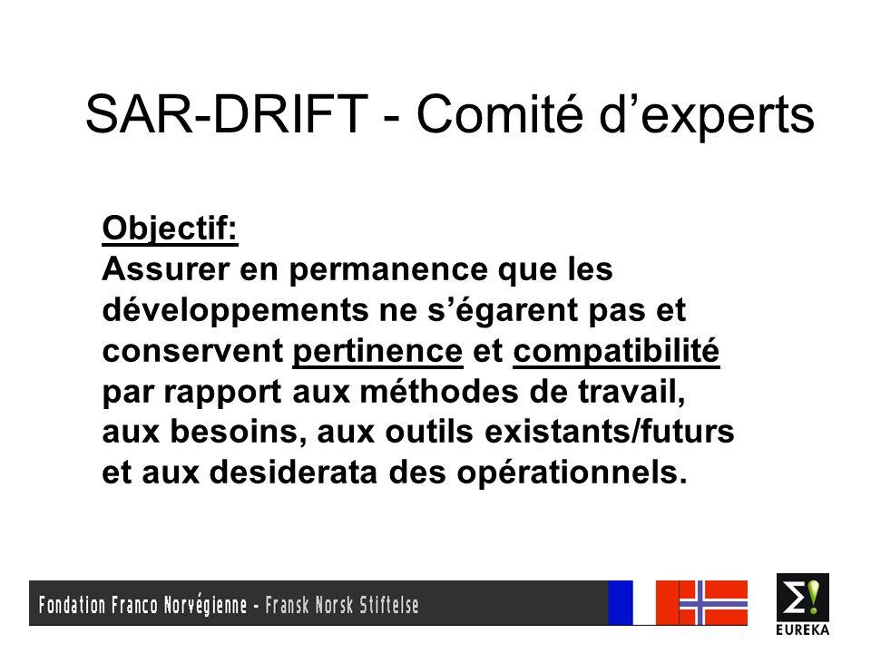 SAR-DRIFT - Comité dexperts Objectif: Assurer en permanence que les développements ne ségarent pas et conservent pertinence et compatibilité par rappo