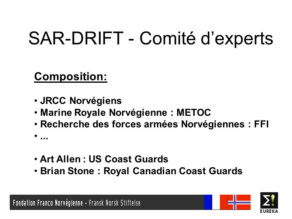SAR-DRIFT - Comité dexperts Composition: JRCC Norvégiens Marine Royale Norvégienne : METOC Recherche des forces armées Norvégiennes : FFI... Art Allen