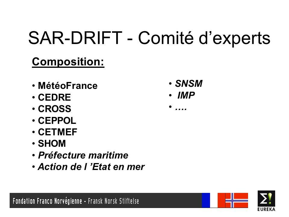 SAR-DRIFT - Comité dexperts Composition: MétéoFrance CEDRE CROSS CEPPOL CETMEF SHOM Préfecture maritime Action de l Etat en mer SNSM IMP ….