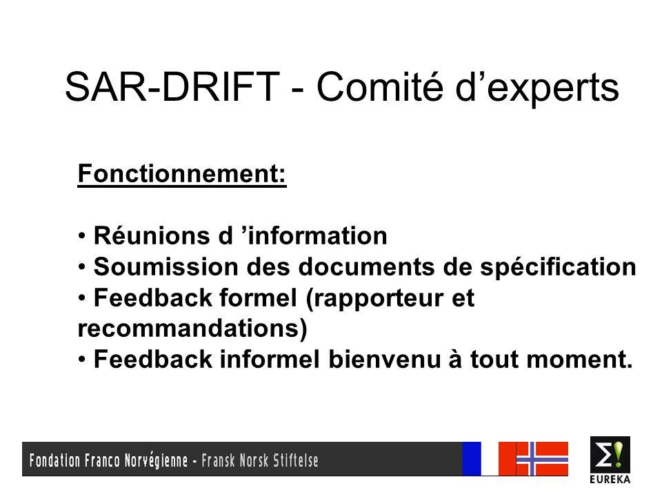 SAR-DRIFT - Comité dexperts Calendrier: 19 Avril 2006 : Présentation du projet, constitution de la partie française du Comité.