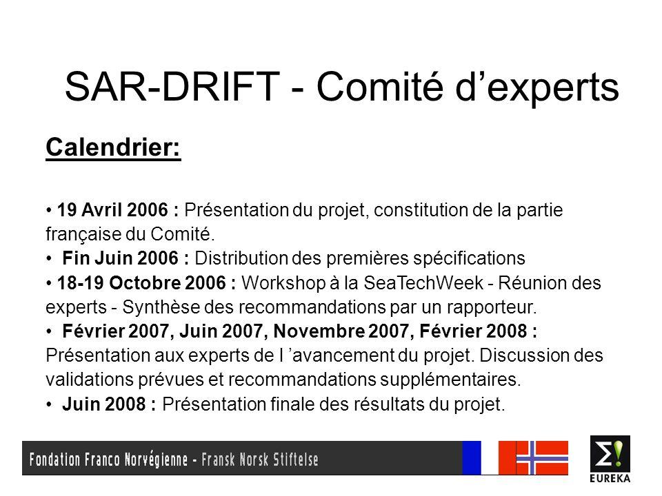 SAR-DRIFT - Comité dexperts Calendrier: 19 Avril 2006 : Présentation du projet, constitution de la partie française du Comité. Fin Juin 2006 : Distrib