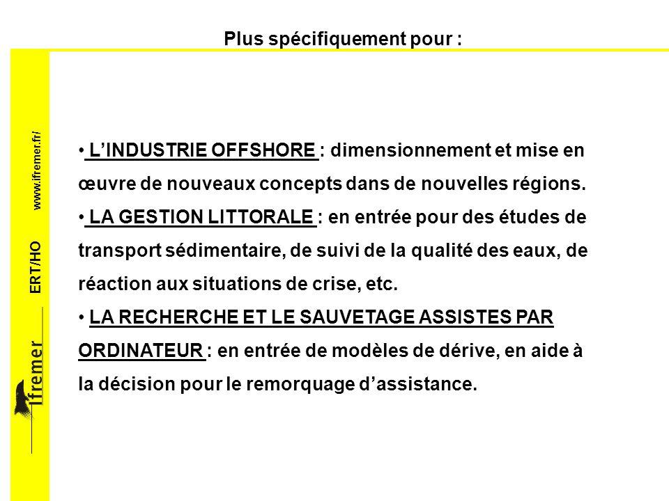 ERT/HO www.ifremer.fr/ Pour répondre à des demandes sur : Les chargements et réponses extrêmes, pouvant conduire à la ruine de louvrage.