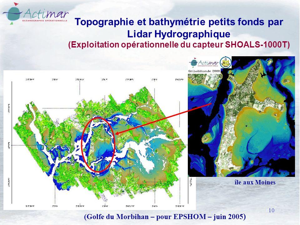 10 Topographie et bathymétrie petits fonds par Lidar Hydrographique (Exploitation opérationnelle du capteur SHOALS-1000T) (Golfe du Morbihan – pour EPSHOM – juin 2005 ) île aux Moines
