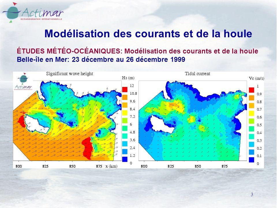 3 Modélisation des courants et de la houle ÉTUDES MÉTÉO-OCÉANIQUES: Modélisation des courants et de la houle Belle-île en Mer: 23 décembre au 26 décembre 1999