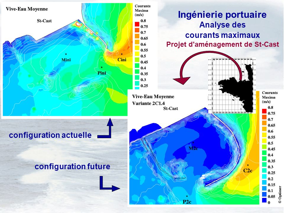 5 configuration actuelle configuration future Ingénierie portuaire Analyse des courants maximaux Projet d aménagement de St-Cast