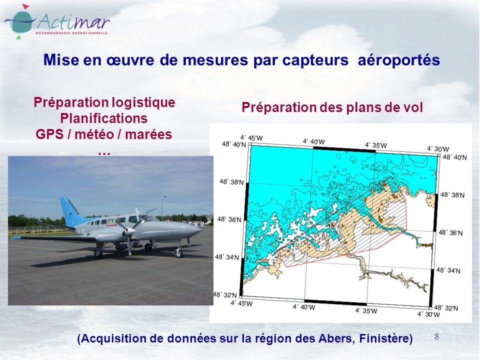 8 Mise en œuvre de mesures par capteurs aéroportés Préparation logistique Planifications GPS / météo / marées … Préparation des plans de vol (Acquisition de données sur la région des Abers, Finistère)