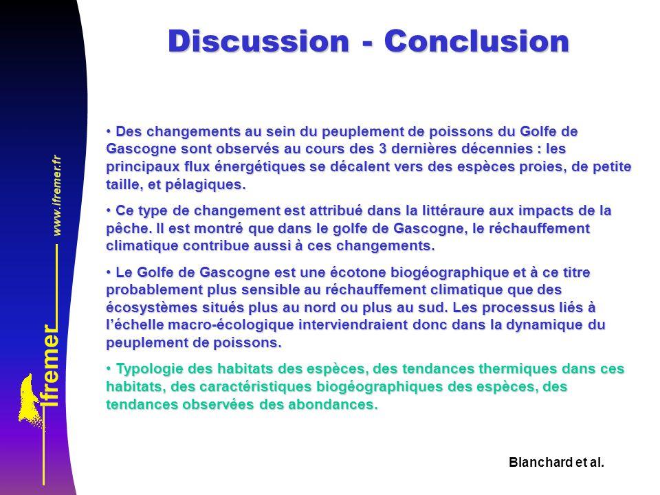 Blanchard et al. Discussion - Conclusion Des changements au sein du peuplement de poissons du Golfe de Gascogne sont observés au cours des 3 dernières