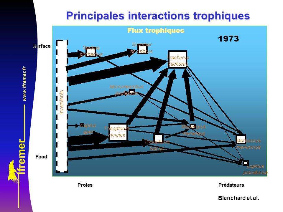 Blanchard et al. Flux trophiques SurfaceFond ProiesPrédateurs Principales interactions trophiques 1973