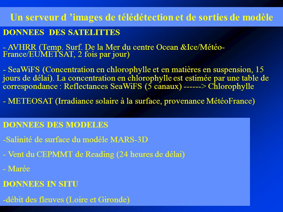Un serveur d images de télédétection et de sorties de modèle DONNEES DES SATELITTES - AVHRR (Temp.