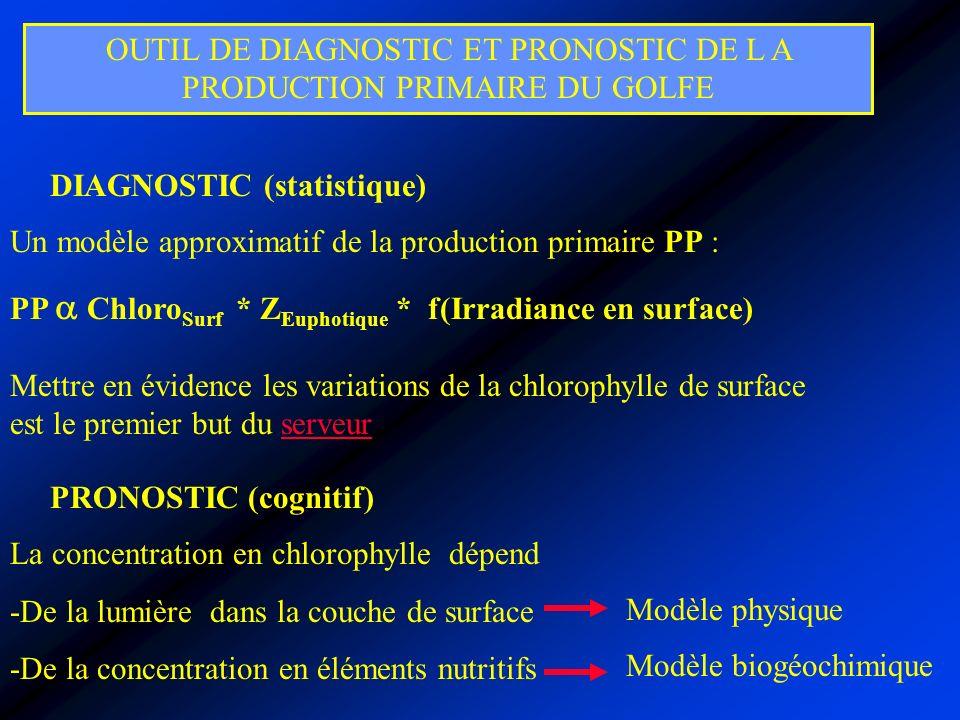 OUTIL DE DIAGNOSTIC ET PRONOSTIC DE L A PRODUCTION PRIMAIRE DU GOLFE DIAGNOSTIC (statistique) Un modèle approximatif de la production primaire PP : PP Chloro Surf * Z Euphotique * f(Irradiance en surface) PRONOSTIC (cognitif) La concentration en chlorophylle dépend -De la lumière dans la couche de surface -De la concentration en éléments nutritifs Mettre en évidence les variations de la chlorophylle de surface est le premier but du serveurserveur Modèle biogéochimique Modèle physique
