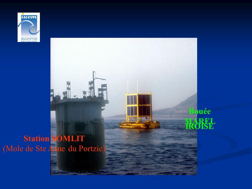 Station Automatique MAREL Iroise Collaboration IUEM/UBO- IFREMER- INSU Transmission des données en temps réel Affichage graphique : site web http://www.ifremer.fr/mareliroise/ haute fréquence F=20 mn Température, salinité, oxygène dissous, pH, turbidité, fluorescence, PAR, météorologie, pCO 2 depuis février 2003 Opérationnelle depuis juillet 2000