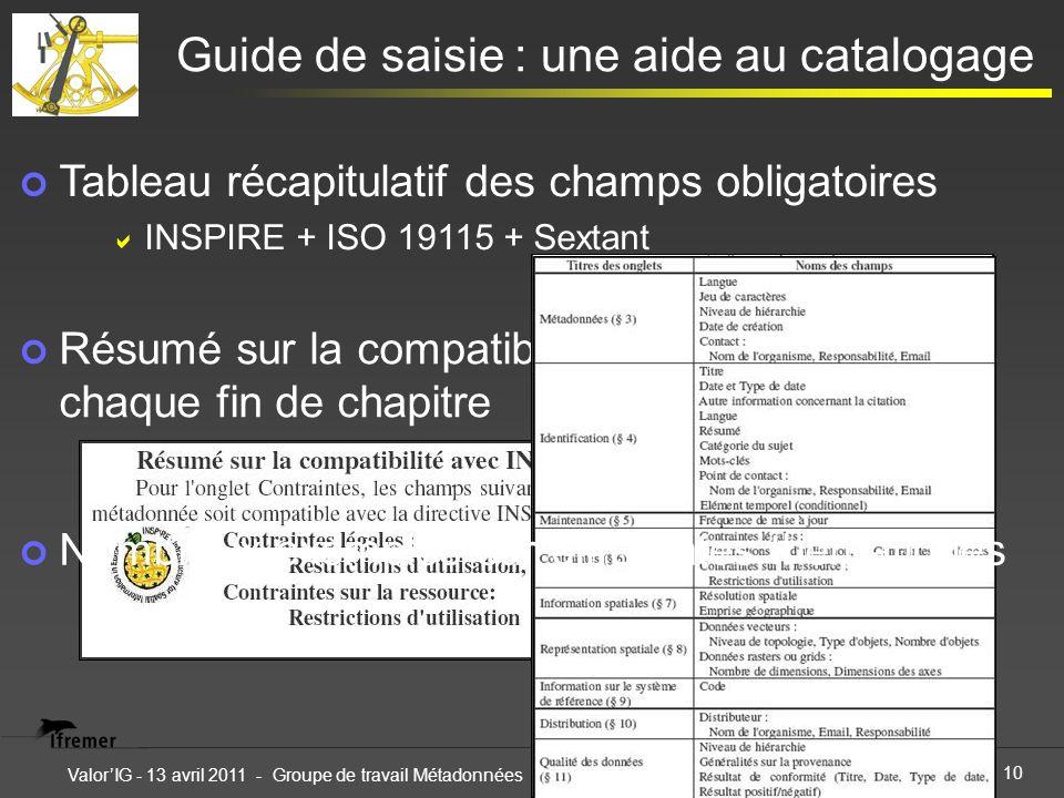 10 ValorIG - 13 avril 2011 - Groupe de travail Métadonnées Guide de saisie : une aide au catalogage Résumé sur la compatibilité avec INSPIRE à chaque fin de chapitre Tableau récapitulatif des champs obligatoires INSPIRE + ISO 19115 + Sextant Nombreux exemples sur différentes thématiques