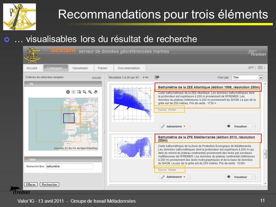 11 ValorIG - 13 avril 2011 - Groupe de travail Métadonnées Recommandations pour trois éléments … visualisables lors du résultat de recherche