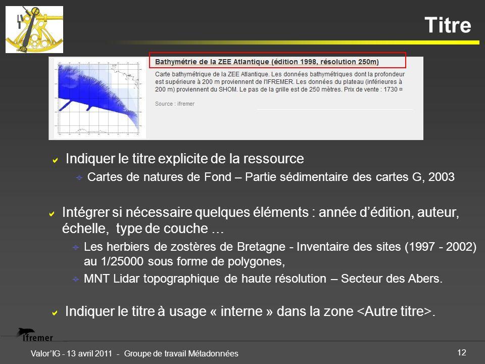 12 ValorIG - 13 avril 2011 - Groupe de travail Métadonnées Titre Indiquer le titre explicite de la ressource Cartes de natures de Fond – Partie sédime