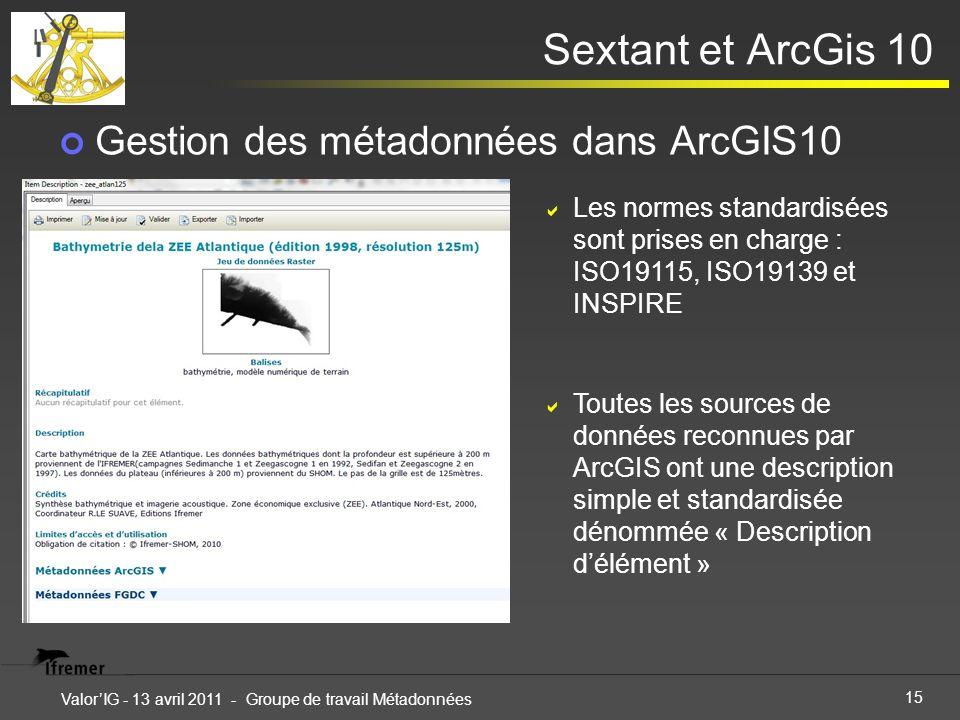 15 ValorIG - 13 avril 2011 - Groupe de travail Métadonnées Sextant et ArcGis 10 Gestion des métadonnées dans ArcGIS10 Les normes standardisées sont pr