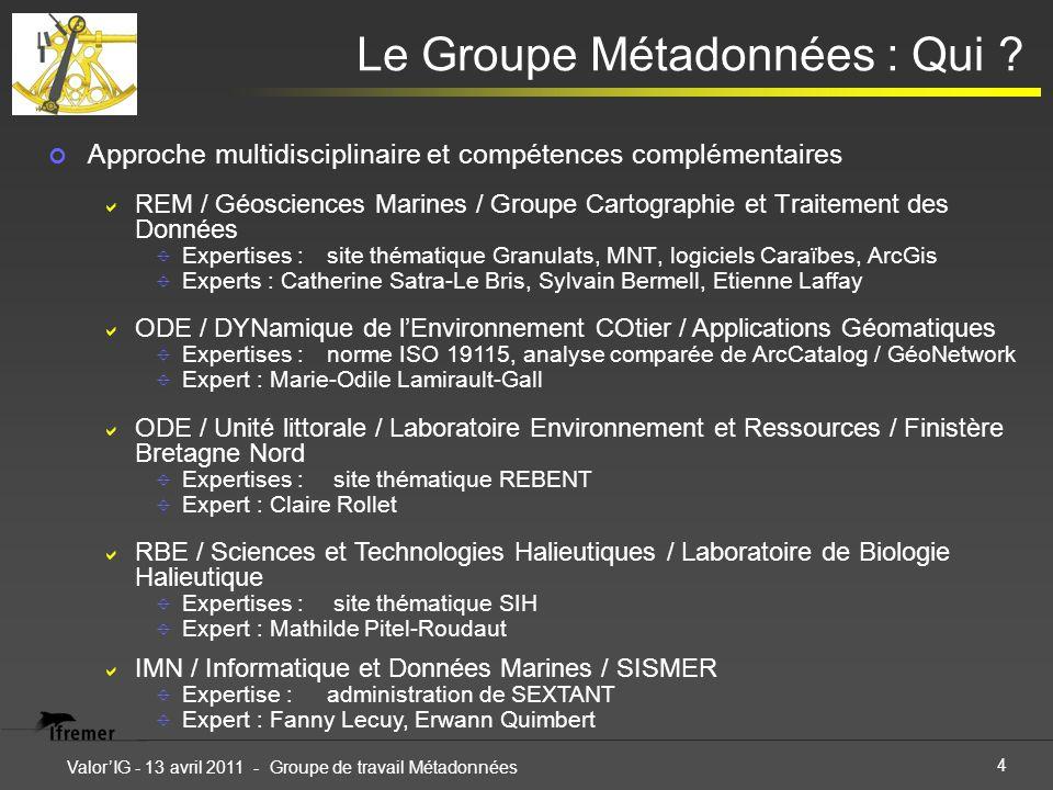 4 ValorIG - 13 avril 2011 - Groupe de travail Métadonnées REM / Géosciences Marines / Groupe Cartographie et Traitement des Données Expertises :site t
